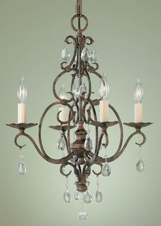 "0-003345>17""""w Chateau Metro Bronze 4-Light Chandelier"