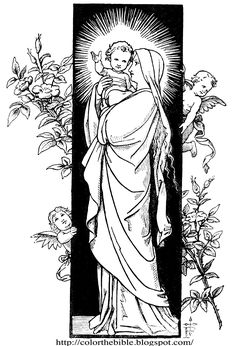 This picture of Mary carrying Jesus can be coloured, stuck on some cardboard/chart paper and stuck or hung on a wall of a child's room as a poster - great activity for Catechism kids Pattern Coloring Pages, Adult Coloring Pages, Coloring Books, Catholic Art, Religious Art, Catholic Saints, Bible Illustrations, Queen Of Heaven, Art Drawings For Kids