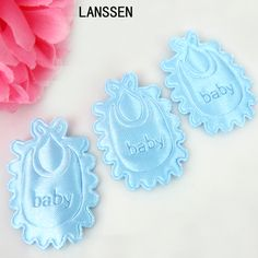 180pcs Blue Fabric Bibs Satin Baby Letter For Baby Shower Applique/trim/Craft/Party/Decorations 25 x 33mm