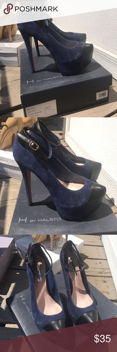 H by Halston Navy Suede Pumps Suede Blue and leather black pumps H by Halston Shoes Heels