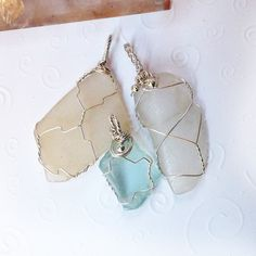 3 art wire wrapped real sea glass pendants in sterling silver