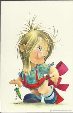 BONITABy Maria Elena Lopez POSTAL ANTIGUA Gabriel, Holly Hobbie, Cartoon Kids, Cute Illustration, Colour Images, Big Eyes, Decoupage, Cartoon Drawings, Vintage Postcards