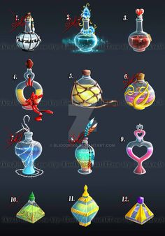 Birthday Present Potions Anime Weapons, Fantasy Weapons, Prop Design, Game Design, Fantasy World, Fantasy Art, Bottle Drawing, Magic Bottles, Game Props