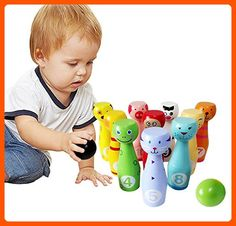 Lewo Wooden Large Indoor Skittles Bowling Game Set for Kids with 10 Animal Pins 2 Balls - Toys for big kids (*Amazon Partner-Link)