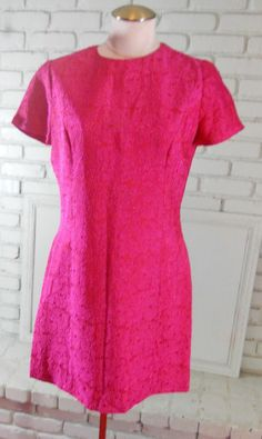 Vintage 60s Pink & Orange Cocktail dress jacquard S 36 Bust handmade #handmade