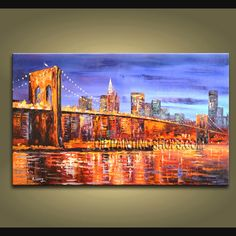 Original Oil Painting Impression City Scenery Brooklyn Bridge Landscape 40 x 24 Abstract Painting Techniques, Modern Oil Painting, Modern Art Paintings, Landscape Paintings, Abstract Paintings, Modern Canvas Art, Canvas Wall Art, Contemporary Wall Decor, Palette Knife