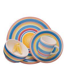 Sarita Rainbow 16-Piece Dishware Set by Gibson Designs on #zulily