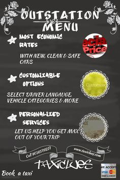 Taxiclues exclusive outstation 'Menu' - Economic rates, professional behaviour and customized service.