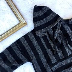 Drug Rug grey and black hoodie Everyone needs a comfy drug rug and what better than a black one  this is one size fits most but size is small Vintage Sweaters Shrugs & Ponchos