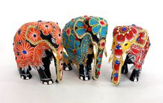 Elephant Figurine Hand wood covered with with textile in от ICMCM