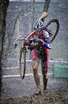Don Myrah, UCI Masters World Champ 45-49 on his Hakkalugi in the snow in Louisville.