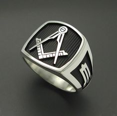 """Highly durable black background to enhance masonic symbols- this version has the square and compass with no """"G"""". All creations are custom designed, hand cast with solid sterling silver, and individually polished. Sons Rings, Masonic Jewelry, Masonic Symbols, Cigar Band, Freemasonry, Engraved Rings, Beautiful Gift Boxes, Chrome Plating, Precious Metals"""