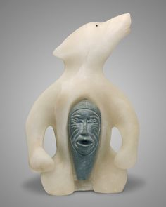 Alabaster and Brazilian Soapstone 56.0 x 36.0 x 20.0 cm Price: $18,000 SOLD Corporate Collection Toronto, ON Canada This sculpture of white alabaster and soapstone depicts a shaman who has taken on the form of a bear (nonuk). He has …