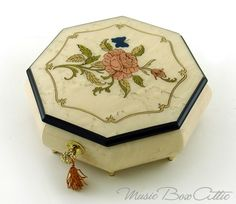Immaculate Ivory Stain Octagonal Music Jewelry Box, Pink Rose & Butterfly Inlay