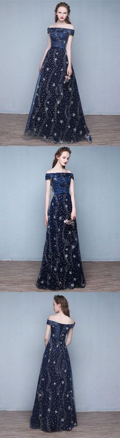 Blue long prom dress, off shoulder evening dress, blue sequin formal dress