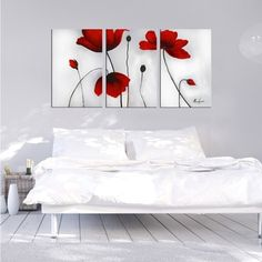 Shop for 'Flowers' Hand-painted Oil on Canvas Art Set. Get free delivery On EVERYTHING* Overstock - Your Online Art Gallery Store! Get in rewards with Club O! Hand Painted Canvas, Canvas Wall Art, Wall Mural, Red Flower Pictures, Oversized Wall Art, Oil Painting On Canvas, Red Flowers, Red Poppies, Modern Bedroom