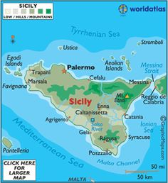 Sicily: is the largest island in the Mediterranean Sea. Catania to Agrigento. Italy Vacation, Italy Travel, Italy Map, Rome Travel, Adventure Holiday, Adventure Travel, Aire Camping Car, Visit Sicily, European Map