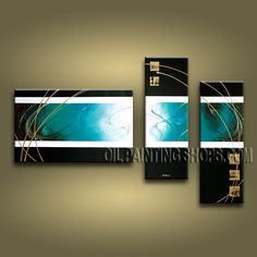 Enchanting Modern Abstract Painting Hand Painted Oil Painting Stretched Ready To Hang Abstract. This 3 panels canvas wall art is hand painted by Bo Yi Art Studio, instock - $128. To see more, visit OilPaintingShops.com