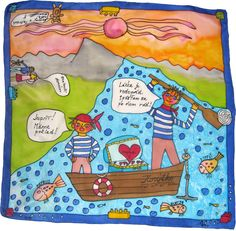 Šatka -obrázok do detskej izby na zarámovanie Silk Painting, Ska