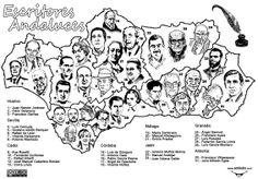 Mapa de escritores andaluces Vía Biblioteca del IES Fuente Lucena
