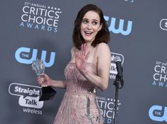 """Rachel Brosnahan, winner of the award for best actress in a comedy series for """"The Marvelous Mrs. Maisel"""", speaks in the press room at the annual Critics' Choice Awards at the Barker Hangar on Thursday, Jan. in Santa Monica, Calif. Critic Choice Awards, Critics Choice, Catskill Resorts, Rachel Brosnahan, Comedy Series, Beautiful Costumes, Best Actress, Home And Away, It Works"""
