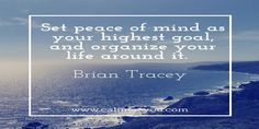 Set peace of mind as your highest goal, and organize your life around it. ~ Brian Tracey