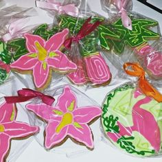 Lilly Pulitzer themed Bat Mitzvah cookie favors www.carinaedolce.com www.facebook.com/carinaedolce  #carinaedolce