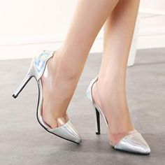 54.30$  Watch now - http://alipcy.shopchina.info/go.php?t=32787676453 - 2017 Summer/Spring New Transparencies High Heels Flock Brand Shoes Pointed Toe Women Pumps Sapato Feminino Shoes Plus Size  #buyonline