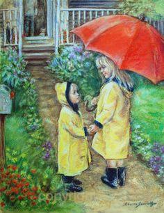 Art Print Raincoats Red umbrella children by LaurieShanholtzer, $16.00