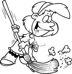Vector Of A Cartoon Girl Sweeping