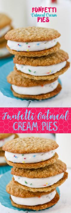 Funfetti Oatmeal Cream Pies! Funfetti added to oatmeal cream pie filling tastes like cake batter. So good!
