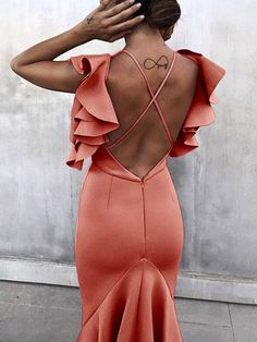 Shop Solid Ruffles Backless Fishtail Maxi Dress right now, get great deals at makeyouchic Fishtail Maxi Dress, Online Dress Shopping, Women's Fashion Dresses, Midi Dresses, Pattern Fashion, Trendy Outfits, Ruffles, Womens Fashion, Fashion Edgy