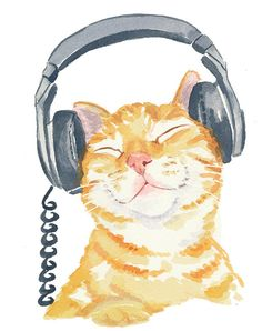 Orange Tabby Cat Watercolor PRINT Music Art Cat от WaterInMyPaint. #headphones #music #artwork #musicart http://www.pinterest.com/TheHitman14/headphones-microphones-%2B/