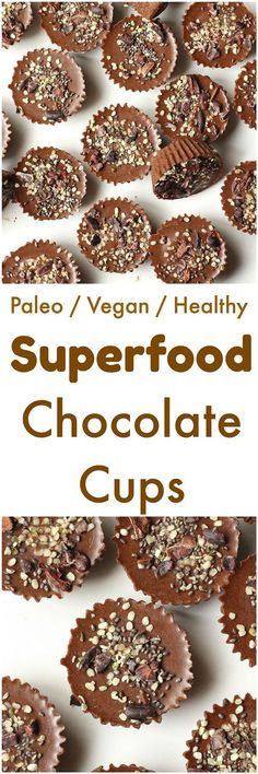 Superfood Chocolate Cups [Vegan/Paleo] - Made without any dairy or refined sugars, these superfood chocolate cups are gluten-free, vegan and paleo.