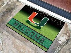 New! Miami Hurricanes Door Mat 18x30 Welcome Crumb Rubber #MiamiHurricanes