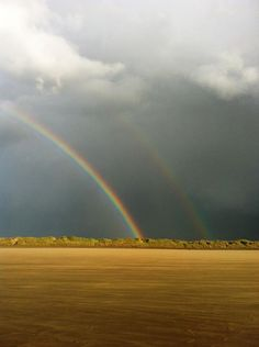 Late afternoon rainbow over the wonderfully dramatic Saunton Sands Beach in N. Devon, close to Exmoor