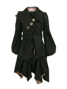 JOLABY // WANT! Chocolate Three Button Coat Jolaby - womens chocolate brown wool coat with a decorative three button collar. The coat also features bell sleeves with puffed shoulders, a belted waist, side seam pockets, hitched, draped design and an asymmetric hem. $430