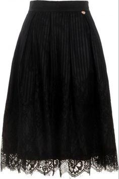 Μίντι φούστα Bellino με δαντέλα - Μαύρο