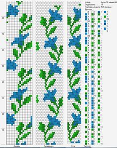Bead crochet rope pattern - blue flowers with leaves - 16 around, 5 colors