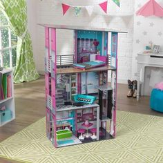 Shop for Glamorous Dollhouse at KidKraft. Kids will love this stylish wooden dollhouse with vibrant colorful details and modern dollhouse furniture pieces. Accommodates dolls up to 12 inches tall. Modern Dollhouse Furniture, Doll Furniture, Dollhouse Kits, Wooden Dollhouse, Barbie Life, Barbie House, Reborn Toddler Dolls, Baby Dolls, Baby Doll House