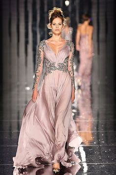 When I shop for evening gowns, I always look for forgiving silhouettes like this with nipped in waists and flowing fabric. This rose gold color is dreamy and will look fantastic on an array of skin tones from pale to dark. Beautiful Gowns, Beautiful Outfits, Gorgeous Dress, Couture Dresses, Fashion Dresses, Abed Mahfouz, Runway Fashion, Fashion Tips, Mens Fashion