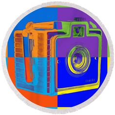 Box Round Beach Towel featuring the photograph Box Camera Pop Art 1 by Edward Fielding