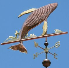 The Humpback Whale Weather Vane, Megaptera novaeangliae, featured in this image consists of a breaching copper Humpback Whale with a brass splash. This weathervane design was Weather Vanes, New England Style, Humpback Whale, Shop Signs, Nautical Theme, Windmill, Sculpture, Wind Chimes, Coastal