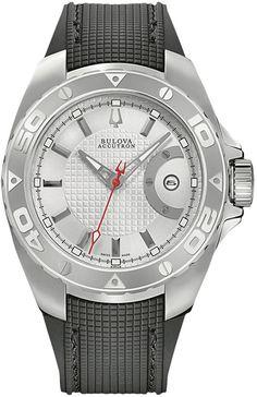 Accutron Curaأ§ao Silver-White Black Rubber Mens Watch 63B129 BY Accutron