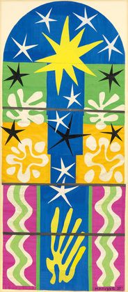 Henri Matisse (French, 1869–1954). <i>Nuit de Noël</i>. 1952. Maquette for stained-glass window. Gouache on paper, cut and pasted, mounted on board, 10' 7″ x 53 1/2″ (322.8 x 135.9 cm). The Museum of Modern Art, New York. Gift of Time Inc. © 2014 Succession H. Matisse/Artists Rights Society (ARS), New York
