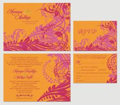 tropical color themed wedding invites