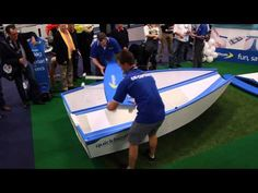 FOLDING RUNABOUT BOAT 2013 This folding boat can be assembled in just 40 seconds, and will fit into a normal car for transport (no need for a trailer). It can be powered by a 10HP motor at full planing speeds and holds 2 adults and 2 children. Watch the video...