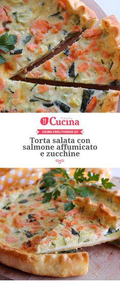 Torta salata con salmone affumicato e zucchine della nostra utente Giovanna. Unisciti alla nostra Community ed invia le tue ricette!