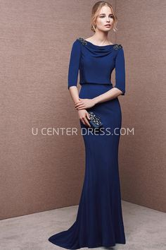 $140.09-Long Cowl Beaded Half Sleeve Jersey Modest Sheath Blue Evening Gown with Half Sleeves. http://www.ucenterdress.com/long-cowl-beaded-half-sleeve-jersey-prom-dress-with-sweep-train-pMK_301606.html. Shop for affordable evening gowns, prom dresses, white dresses, party dresses for women, little black dresses, long dresses, casual dresses, designer dresses, occasion dresses, formal gowns, cocktail dresses . We have great 2016 Evening Gowns on sale now. #evening #gowns
