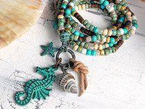 trendige Kette ♥ Seahorse Patina ♥ Seed Beads